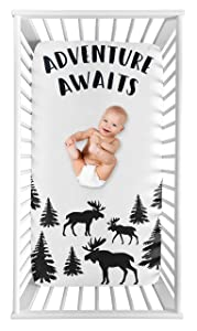Sweet Jojo Designs Woodland Moose Boy Fitted Crib Sheet Baby or Toddler Bed Nursery Photo Op - Black and White Adventure Awaits Rustic Patch