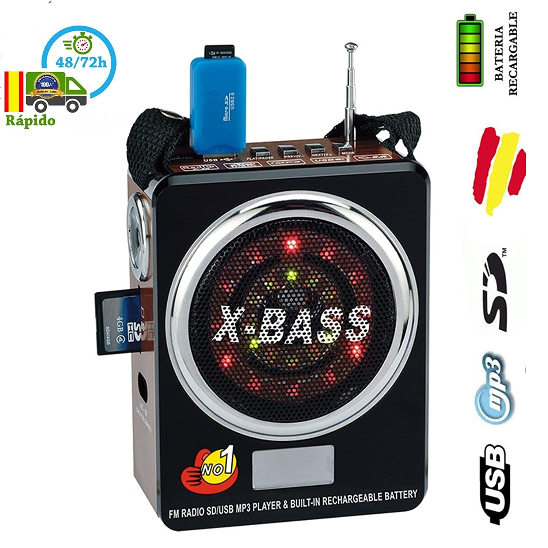 BATERIA recargable ALTAVOZ Portatil FM RADIO USB MP3 SD con LINTERNA