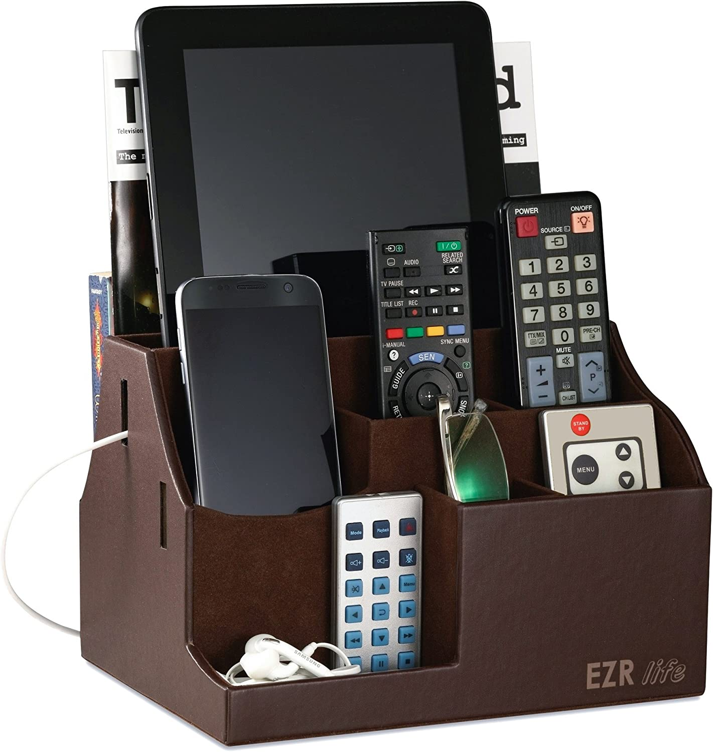 EZR life All-in-One Remote Control Holder, Caddy, Organizer - Brown Leather - also holds Phones, Tablets, Books, E-books, Glasses