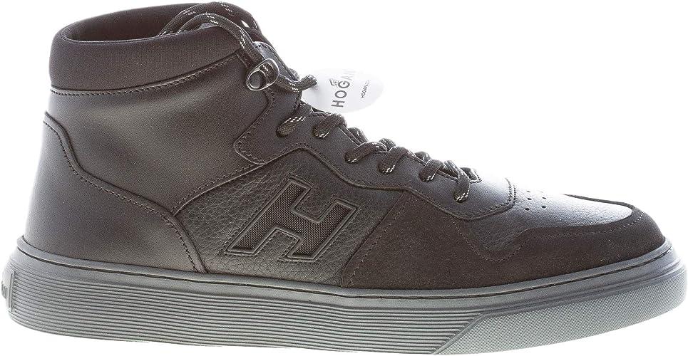 Hogan Uomo H365 Sneaker Modello Basket in Pelle e Nabuk Nero