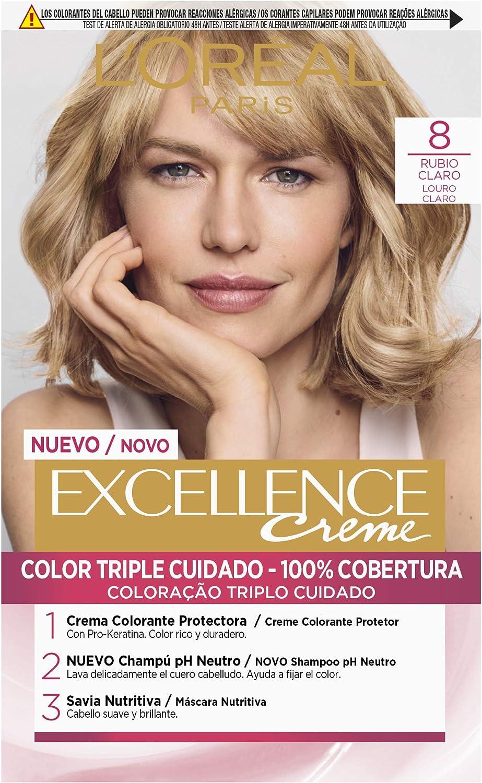 LOréal Paris Excellence Coloración Crème Triple Protección, Tono: 8 Rubio Claro