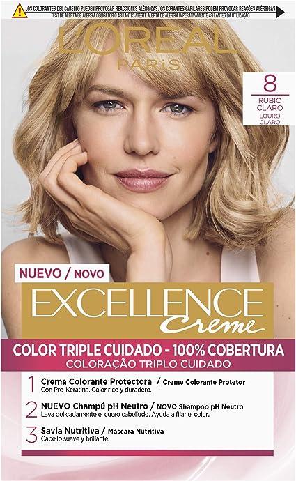 Oferta amazon: L'Oréal Paris Excellence Coloración Crème Triple Protección, Tono: 8 Rubio Claro