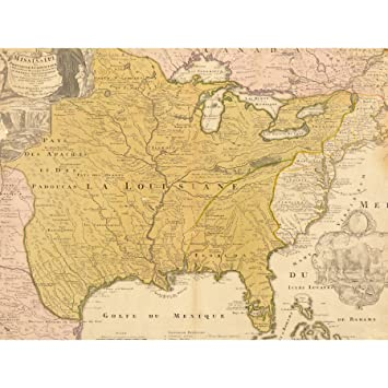 MAP ANTIQUE 1687 EASTERN USA LOUISIANA FRENCH COLONY GULF MEXICO ...