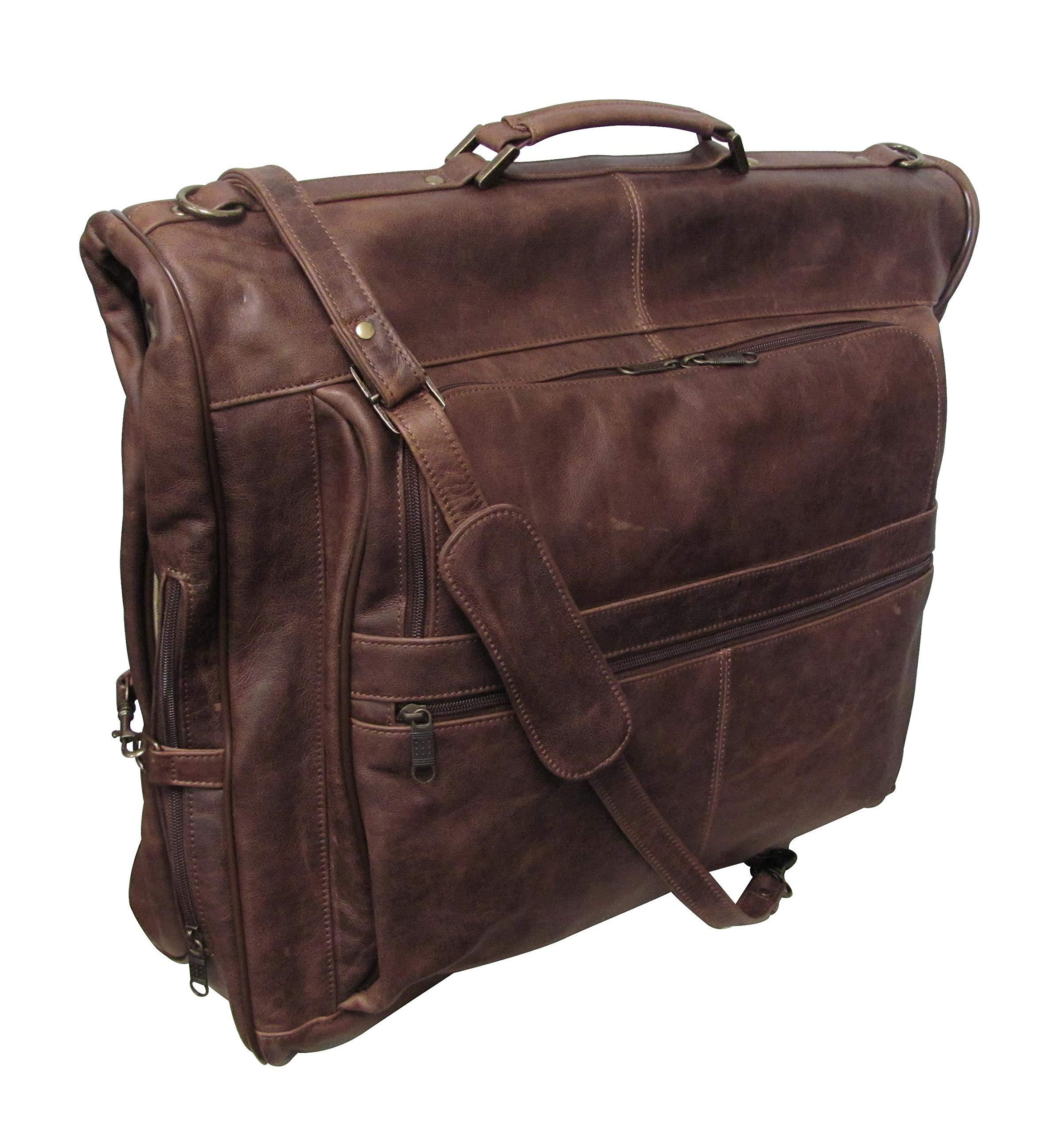 AmeriLeather Leather Three-suit Garment Bag (Vintage Terazzo Brown)