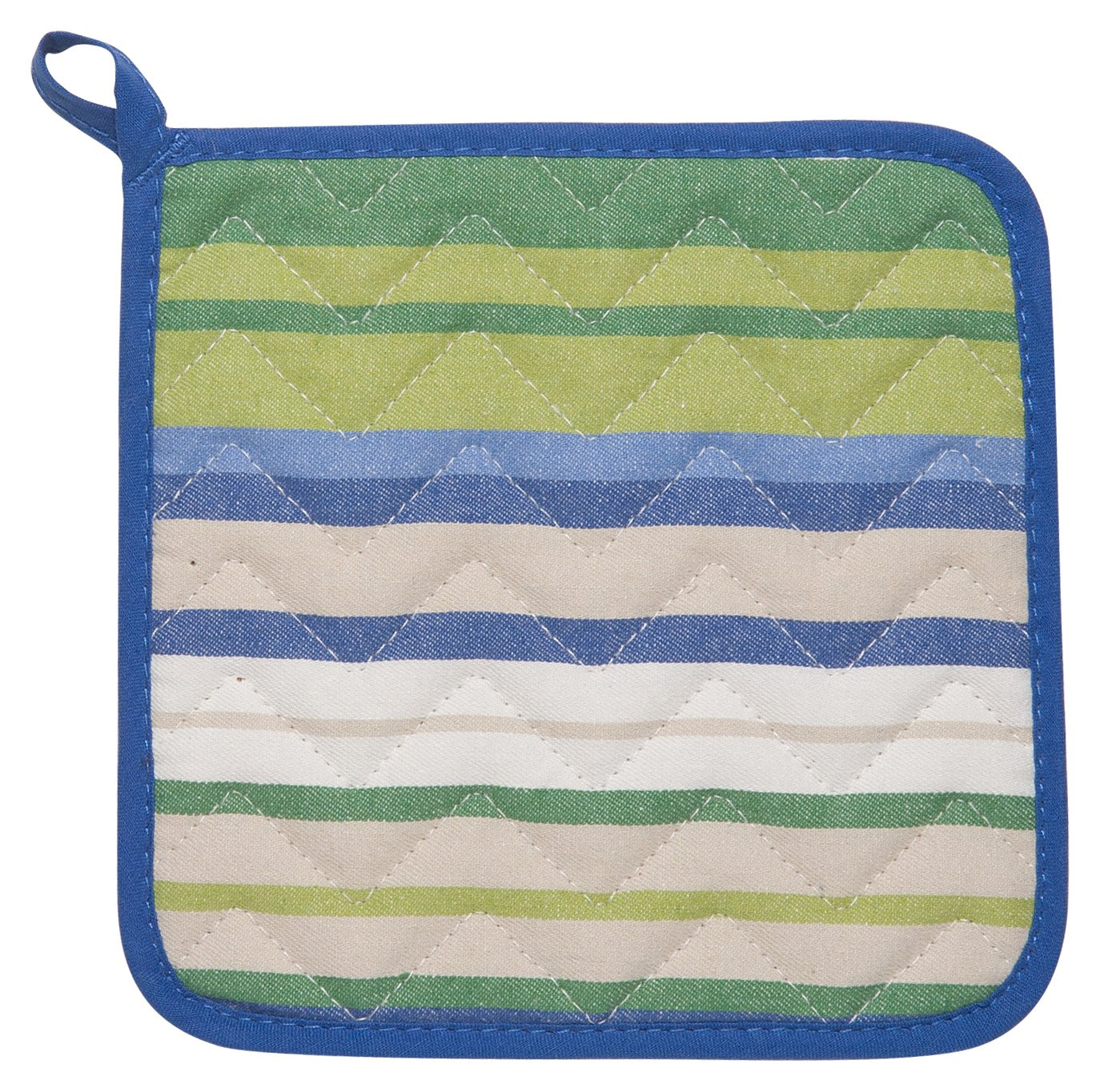 Now Designs Set of 2, Kitchen Style Potholders, Blue Multi Stripe A01836a