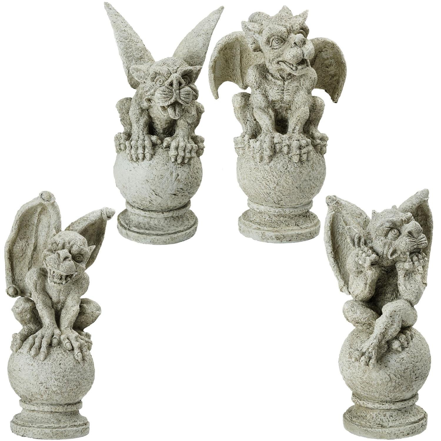 Northlight Decorative Gargoyles on Pedestal Finials Outdoor Garden Statues, 13'', Brown