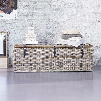 Koffer Truhe Aus Rattan Hell Grau 150 Cm Schlafzimmer Neu Tikamoon