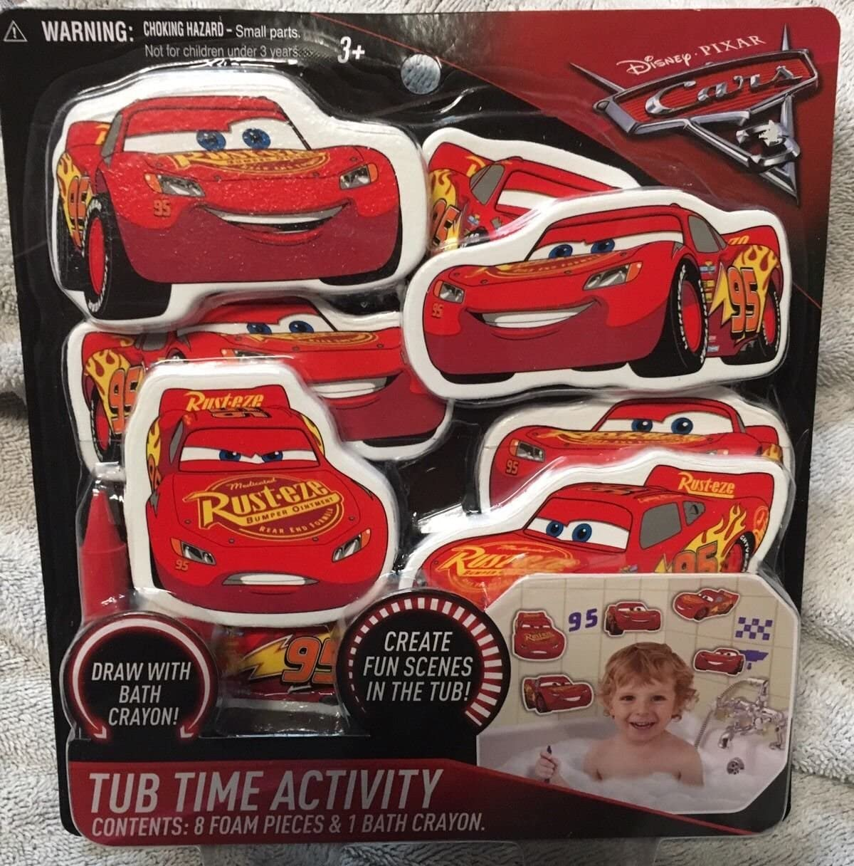 Amazon Com Cars 3 Disney Pixar Tub Time Activity Bath Set 8 Foam Lightning Mcqueen Toys Everything Else