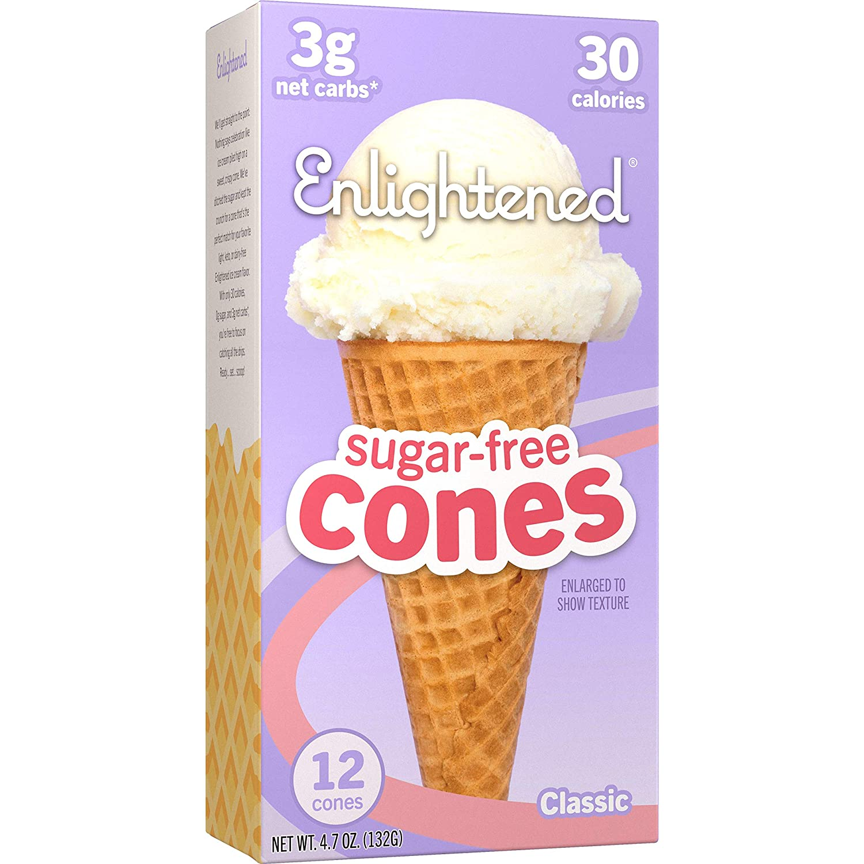 Enlightened Sugar-Free Ice Cream Cones - Vegan Friendly, Sugar Free, Dairy Free - Low Calorie (30 Calories) - Low Carb (Net 3g) - 12pk