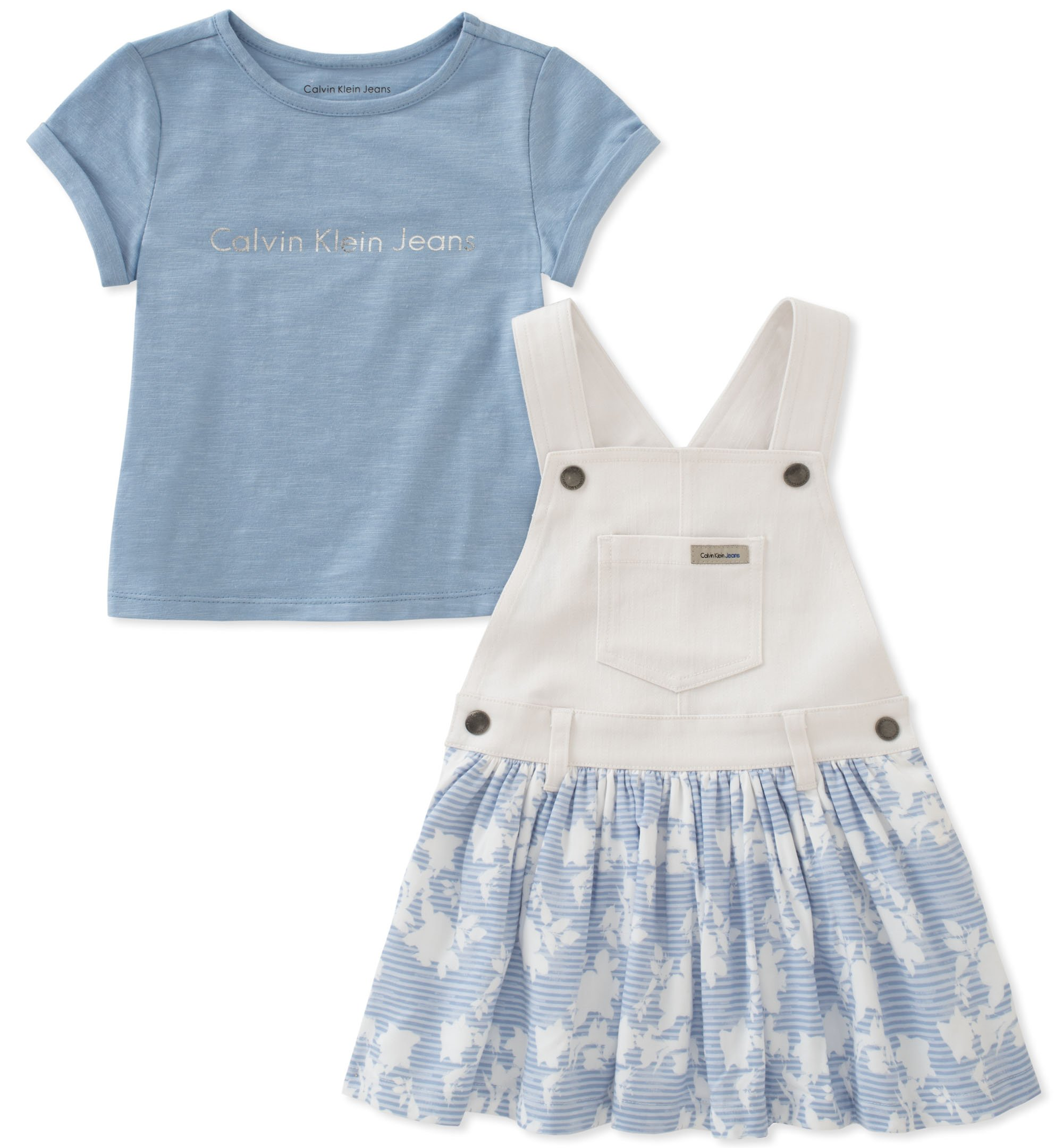 Calvin Klein Little Girls' Jumper Set, White/Blue, 6X