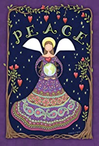 Toland Home Garden Peace Angel 28 x 40 Inch Decorative Colorful Tree Heart Earth Globe House Flag - 109786
