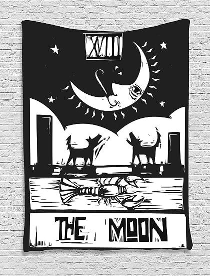 Luna Tapiz Por Ambesonne Blanco Y Negro Dibujo Estilo Langosta