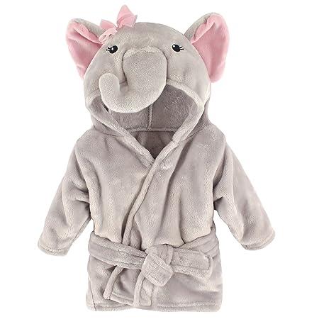 Hudson Baby Unisex Baby Plush Animal Face Robe, Pretty Elephant, One Size, 0-9 Months