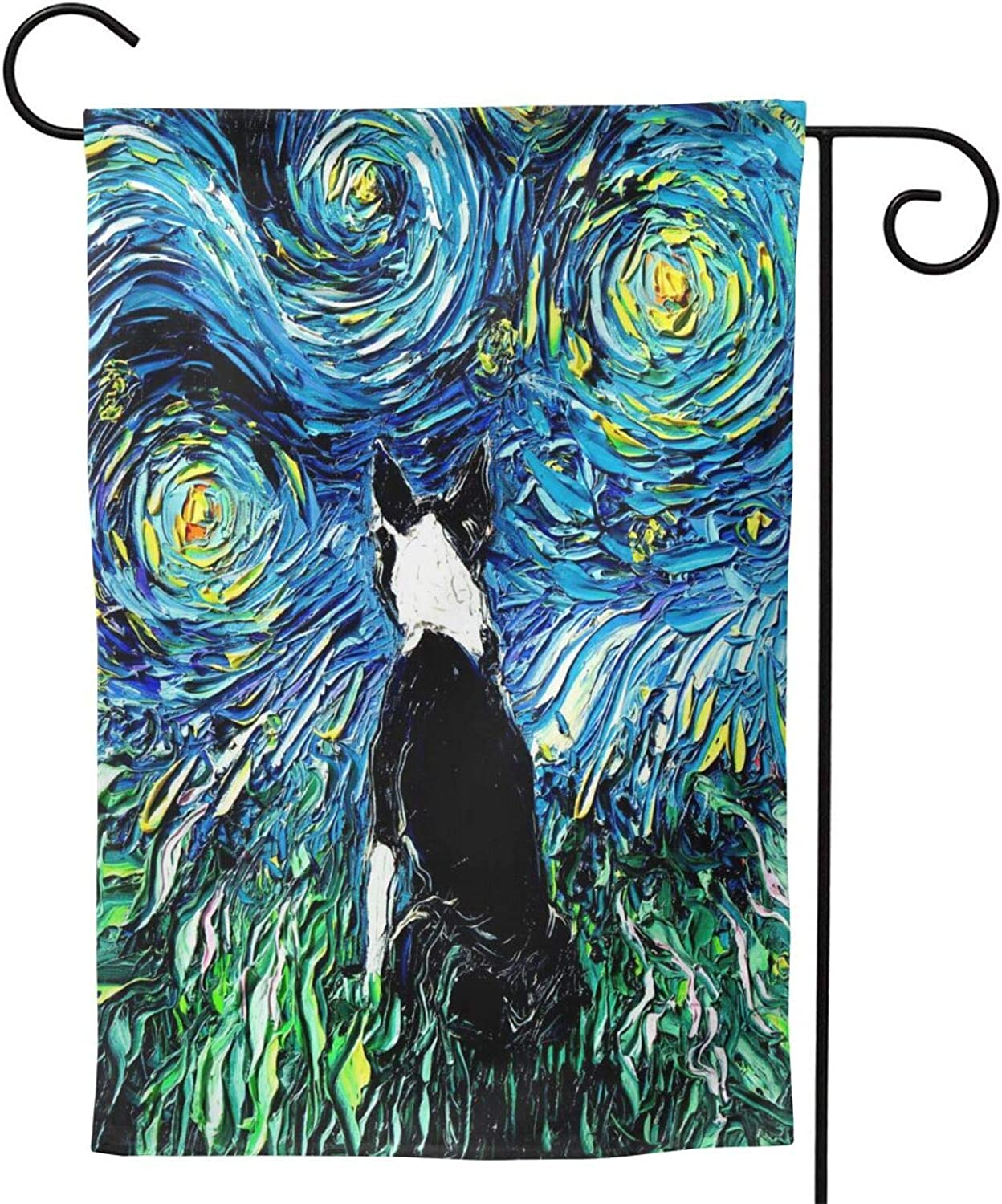 Energmix Spring Summer Cute Boston Terrier Garden Flags Welcome The Holiday with Polyester Garden Flag Double-Sided Seasonal Yard Flag Gift Banner for Patio Lawn Outdoor Home Decor