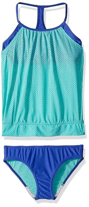 c764db5f70b1e Amazon.com  Speedo Girls Mesh Blouson Tankini Two Piece  Sports ...