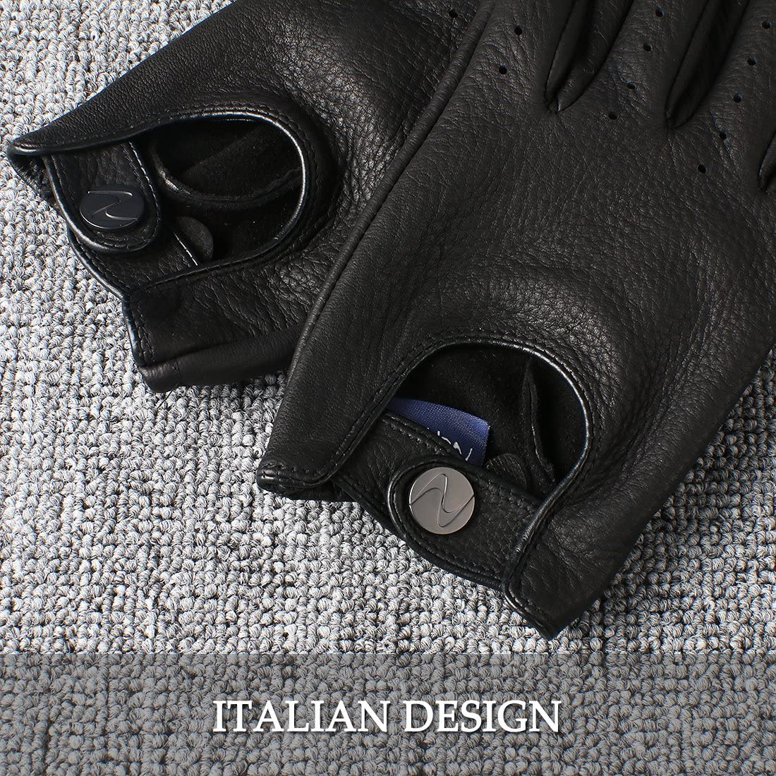 Nappaglo Mens Deerskin Leather Driving Gloves Touchscreen Full Finger Motorcycle Cycling Riding Unlined Gloves