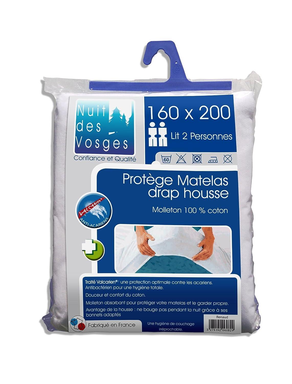 Nuit des Vosges 2060836 Renaud Protector de colchón absorbente de felpa/Algodón blanco 200 x 160 cm: Amazon.es: Hogar