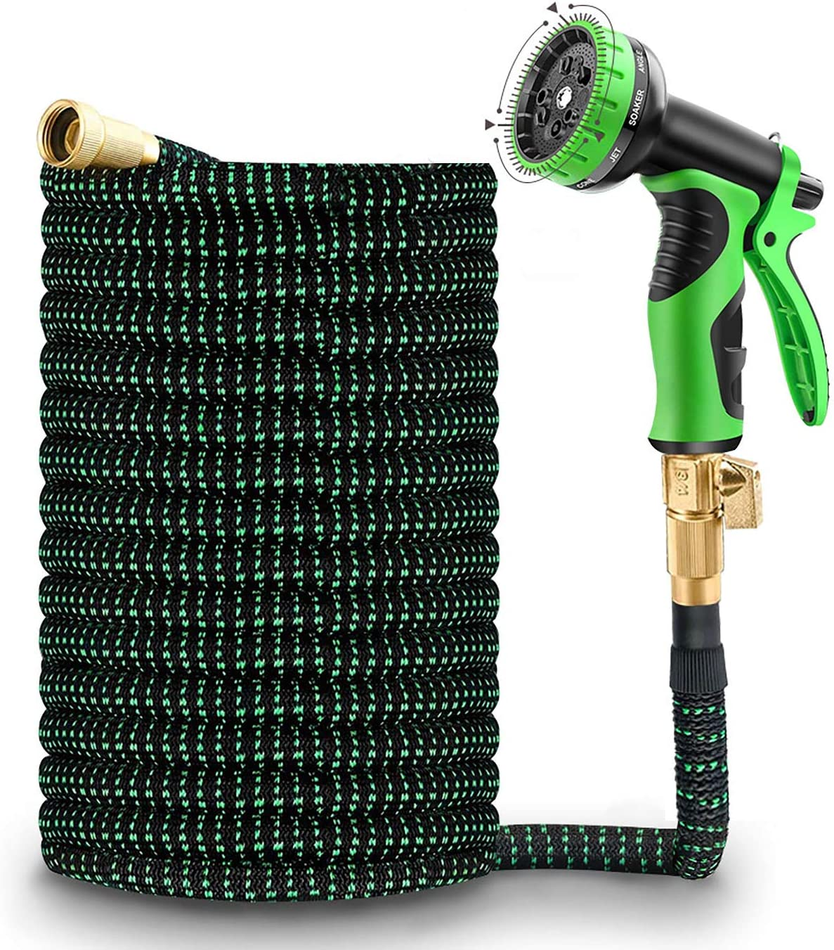 TRINIDa Garden Hose 50FT, Expandable Garden Hose with 10 Functions Spray Nozzle, Solid Brass Fitting & 3-Layers Latex Core. Rot, Crack, Leak Resistant Water Hose