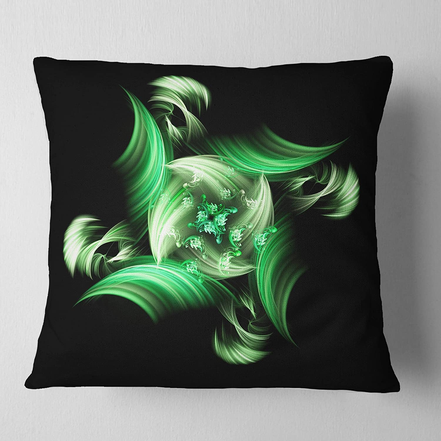 x 16 in Designart CU12128-16-16 Rotation of Small World Green in Black Floral Cushion Cover for Living Room Sofa Throw Pillow 16 in in