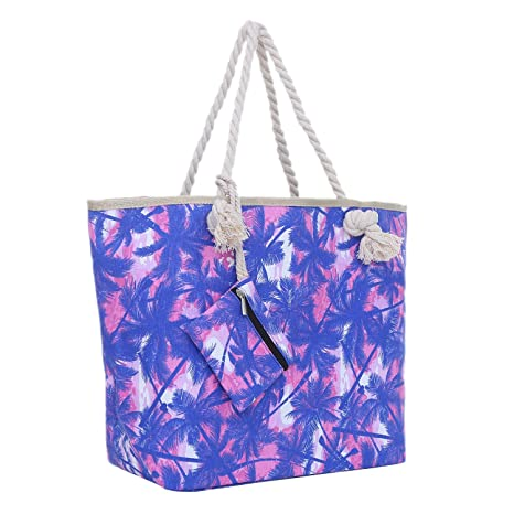 Bolsa de playa grande con cremallera 58 x 38 x 18 cm palmas rosa azul shopper