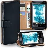HTC Desire S Hülle Schwarz mit Kartenfach [OneFlow Wallet Cover] Handytasche Flip-Case Handyhülle Etui Kunst-Leder Tasche für HTC Desire S Case Book Schutzhülle
