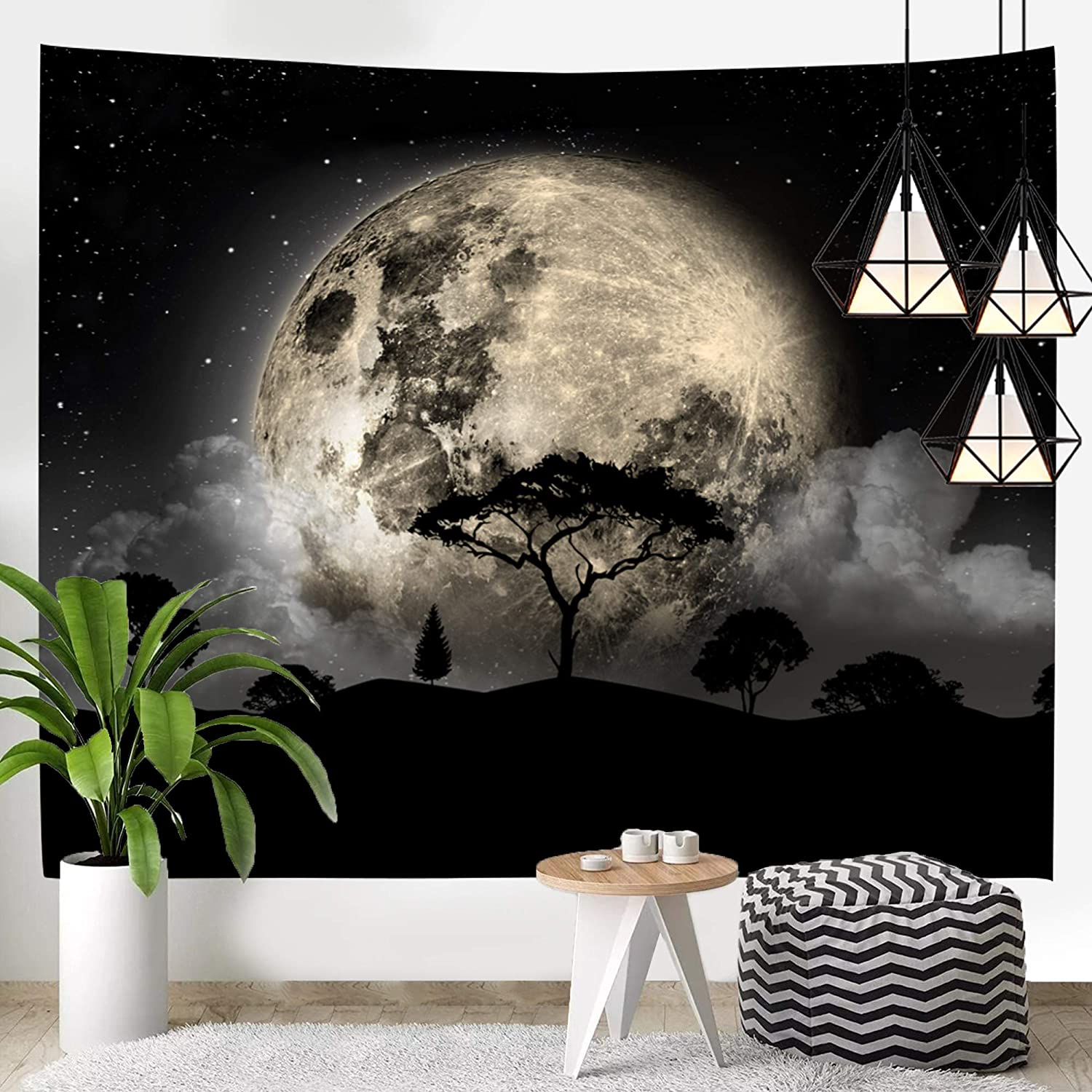 Kamalove Moon Tapestries, Galaxy Tapestry Wall Hanging Decor Psychedelic Wall Art, Aesthetic Star Tree Wall Tapestry for Bedroom Dorm Room Decor, 59