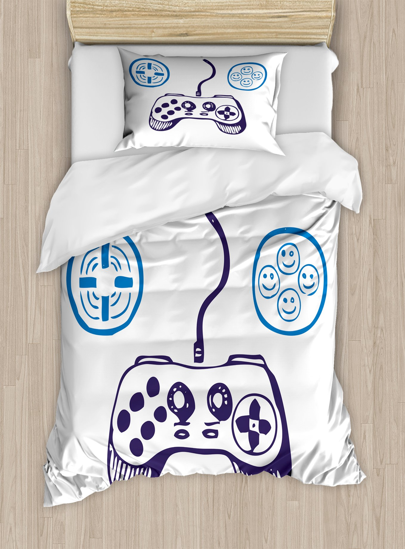 Lunarable Gamer Twin Size Duvet Cover Set, Sketch of Videogame Controller with D-Pad and Smiling Buttons Design, Decorative 2 Piece Bedding Set with 1 Pillow Sham, Azure Blue Purple White