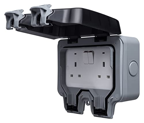 Mk Masterseal 56482 Gry 2 Gang Switched Outdoor Socket