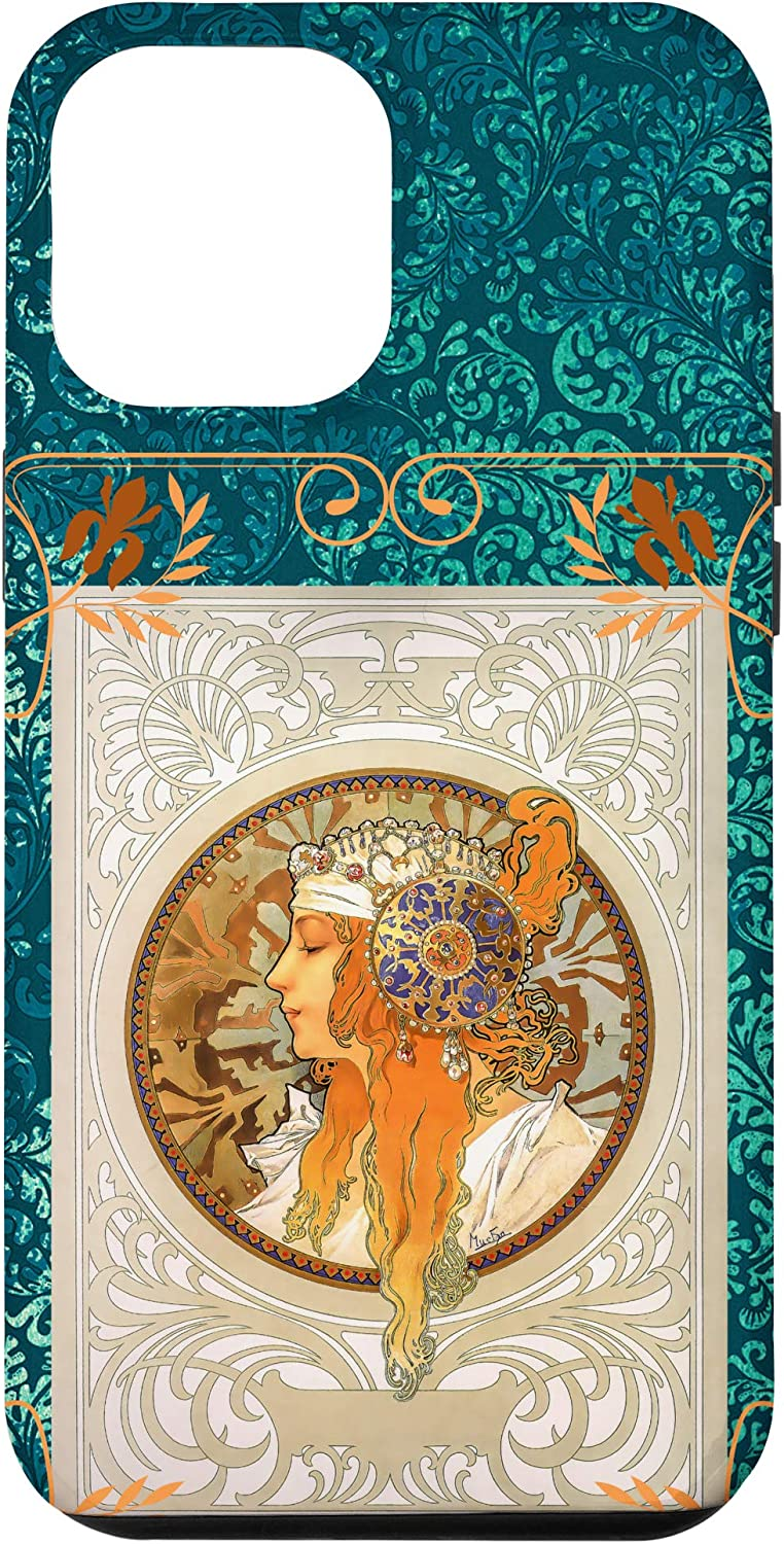 iPhone 12 Pro Max Alphonse Mucha Art Nouveau Beautiful Lady with Red Hair Case