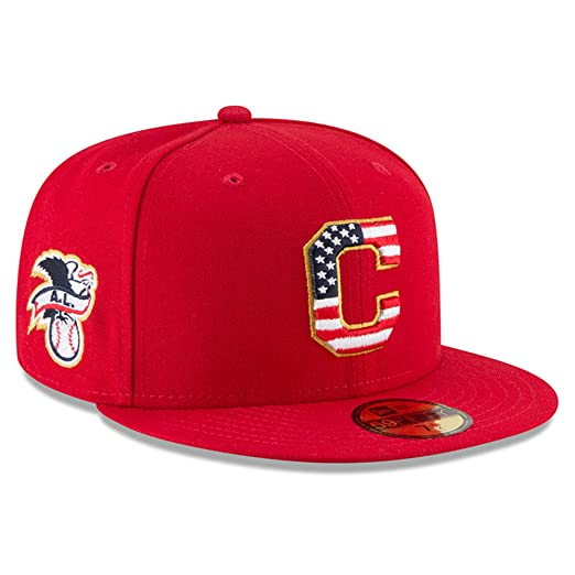0a30f2f5680 New Era Cleveland Indians Scarlet 4TH of July Cap 59fifty 5950 Fitted MLB  Limited Edition