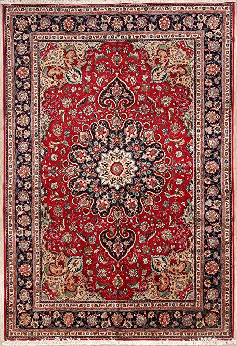 Amazon Com Rug Source One Of A Kind New Tebriz Geometric Hand Knotted 7x10 Red Wool Area Rug 10 0 X 6 11 Kitchen Dining