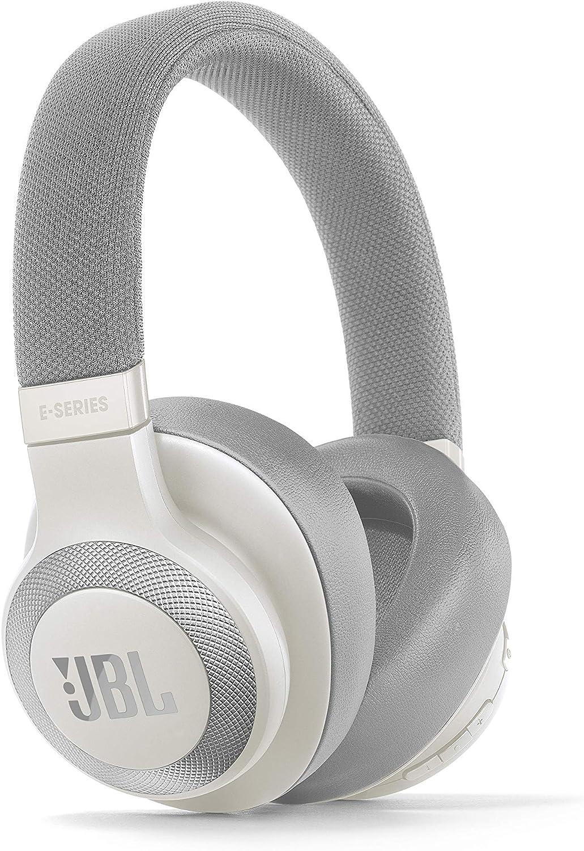 JBL E65 - Auriculares inalámbricos con Bluetooth y cancelación de ruido activa, botón como control remoto incorporado, sonido JBL, blanco