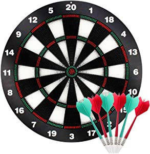 Kyerivs Safety Dart Board Set with Soft Tip Darts for Kid Board Games and Leisure Sport for Office 16.5 Inch
