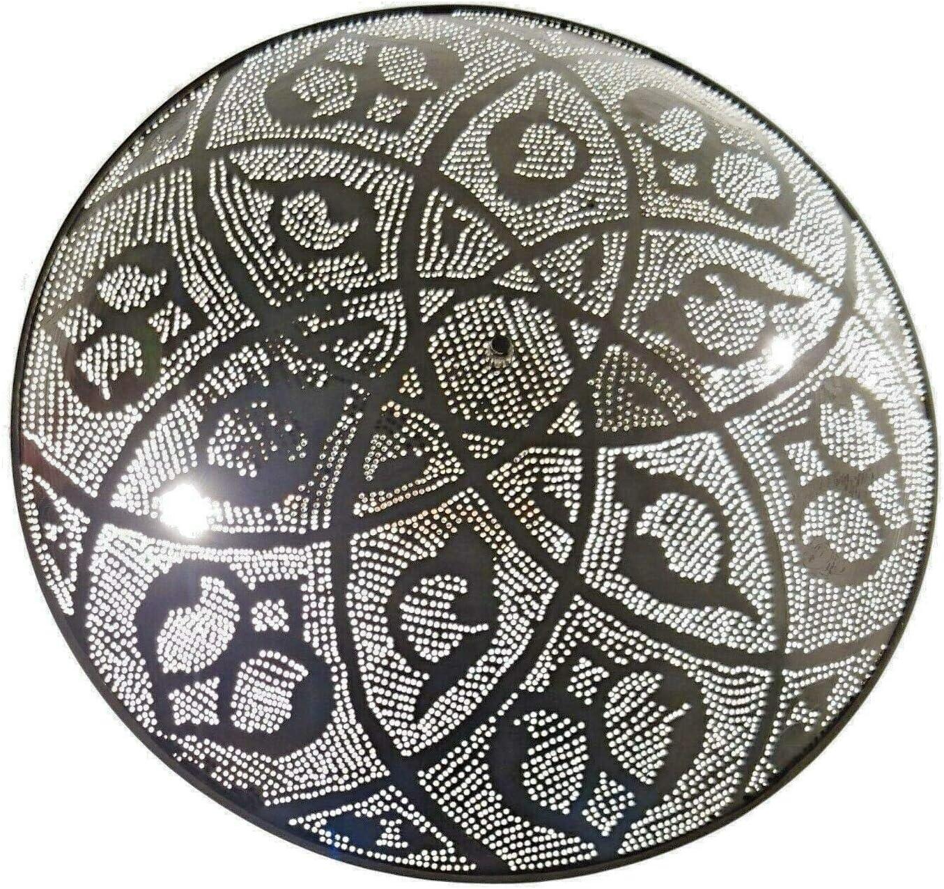 Bm16 Circle Round Tin Moroccan Silver Flush Mount Ceiling Light Fixture Led Lamp Amazon Com