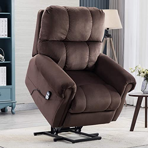 PUG258Y Power Lift Chair Electric Recliner for Elderly Heated Vibration Massage Fabric Sofa Motorized Living Room Chair with Side Pocket and Massage Remote Control, Luxurious, Coffee