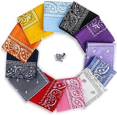 YISSVIC 12pcs Pañuelos Bandanas para Cabeza y Cuello Multicolor ...
