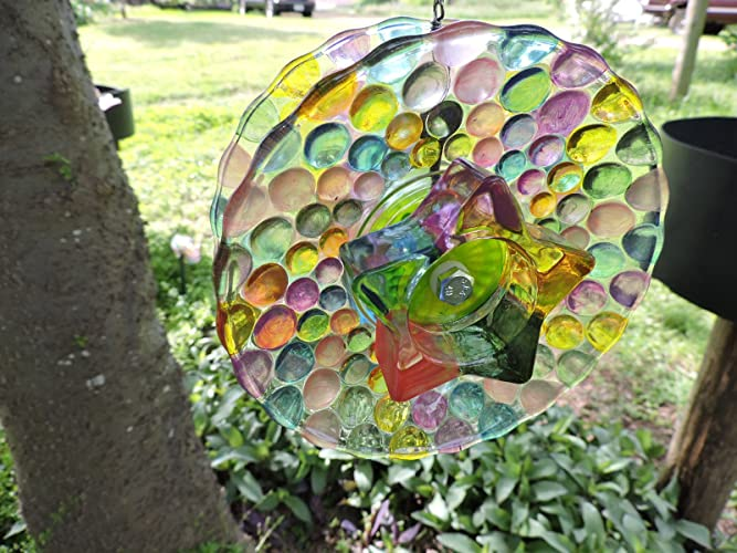Exceptionnel Hand Painted Glass Flower Spinner   An Original Concept     Suncatcher    Yard Art