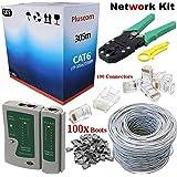 305M RJ45 Cat6 Network Kit Roll Lead Crimp Crimper Crimping Stripper Cable Tester Set + 100x RJ45 Ethernet Connectors + 100x RJ45 Boots