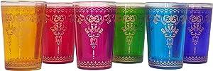 Nomad Treasure's Lamis set of 6 luxury handmade and painted Moroccan tea glasses.