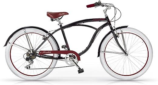 MBM Honolulu - Bicicleta de Paseo para Hombre de 6 velocidades, Cuadro de Acero Talla 47, Frenos V-Brake, Horquilla Acero y Ruedas de 26