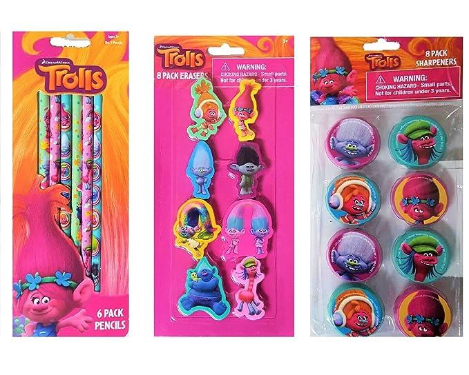 Amazon.com: Trolls 6 lápices, 8 Sacapuntas y 8 gomas de ...