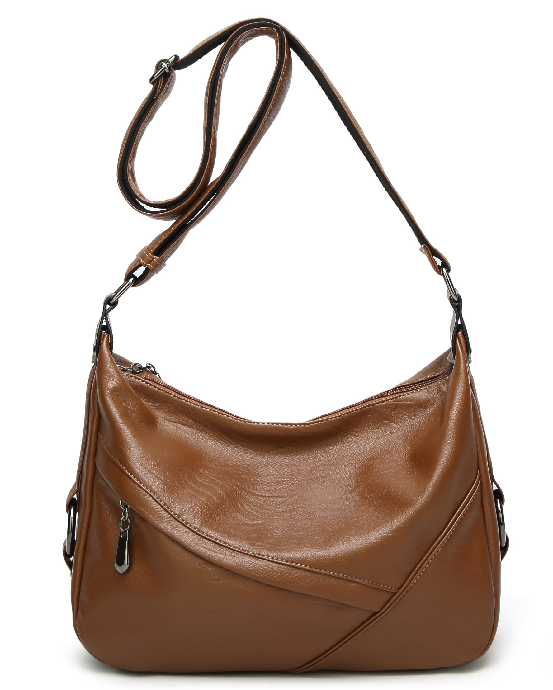 Molodo Women PU Leather Big Shoulder Bag Purse Handbag Tote Bags (Brown)