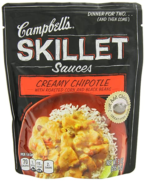 Campbells Skillet Sauces, Creamy Chipotle with Roasted Corn and Black Bean, 9-Ounce Pouch