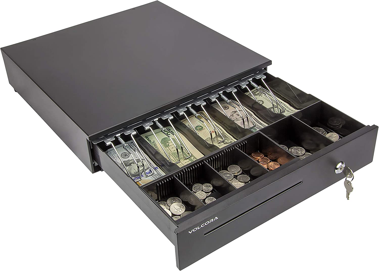 Cash Register Drawer for Point of Sale (POS) System with 5 Bill 6 Coin Cash Tray, Removable Coin Compartment, 24V, RJ11/RJ12 Key-Lock, Media Slot, Black
