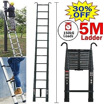 Escalera extensible telescópica de 5 m, cierre suave, protección antipellizcos, aluminio, ligera, 150 kg Load-Portable Loft Stragiht Escalera: Amazon.es: Bricolaje y herramientas