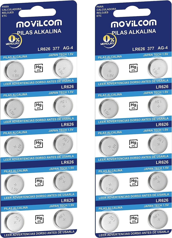 Movilcom 20 Knopfzellen Ag4 Uhrenbatterien 1 5 V Elektronik