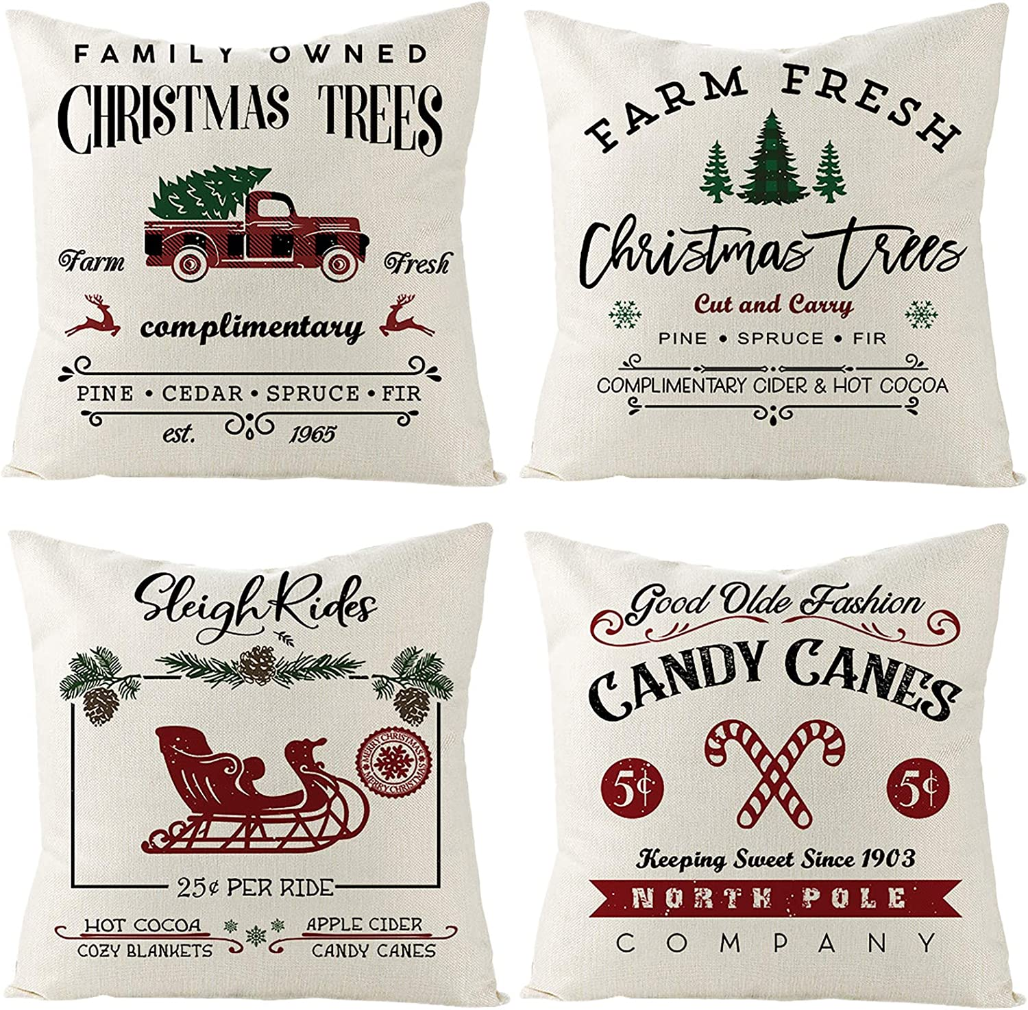 ZUZEN Christmas Pillow Covers 18 x 18 Inches Set of 4,Christmas Decorations Throw Pillow Covers for Sofa, Couch, Bed and Car