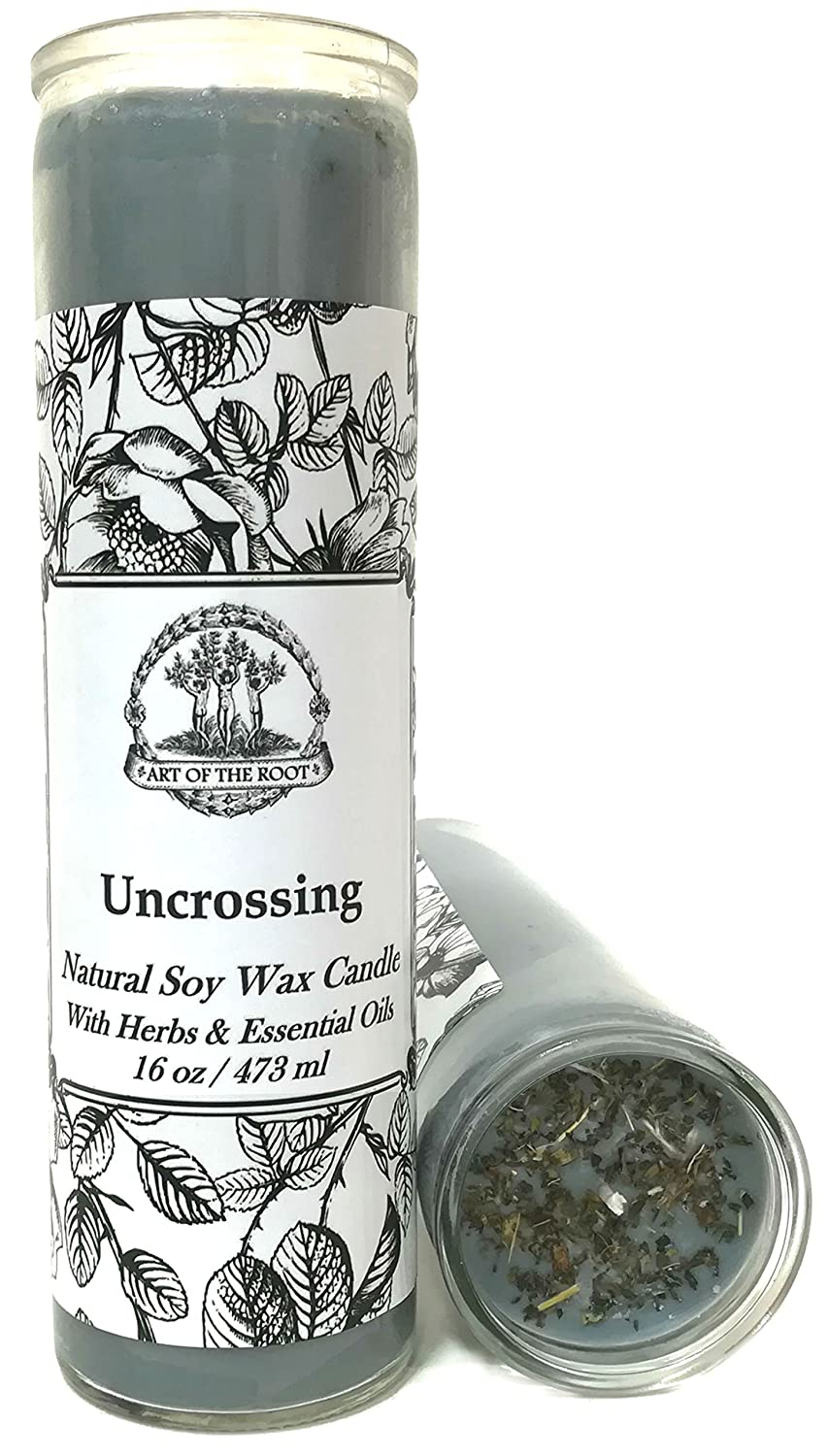 Art of the Root Uncrossing 7 Day SOY Herbal & Scented Spell Candle (Fixed) for Negativity, Spells, Curses, Jinxes, Hexes & Crossed Conditions Wiccan Pagan Conjure Hoodoo Ltd.