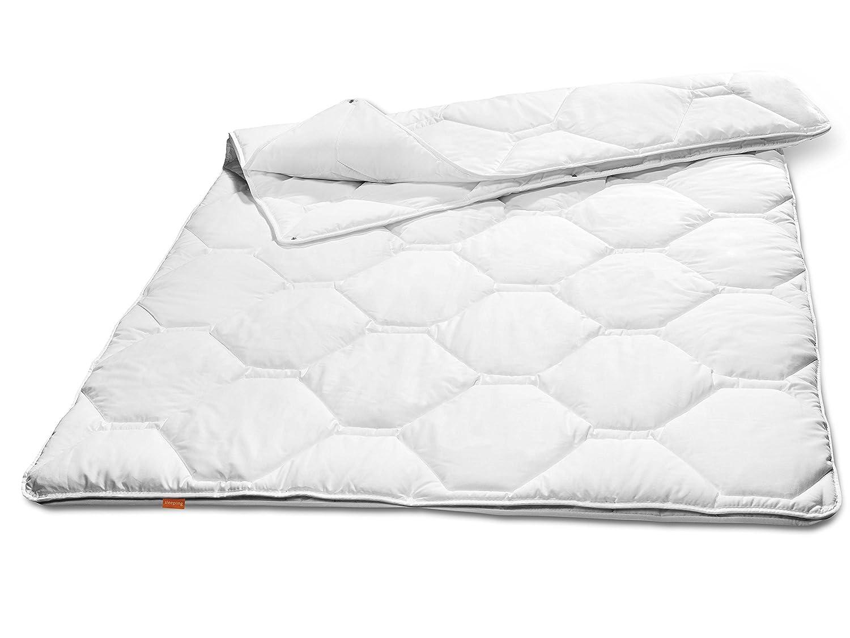 Sleepling 190104 Komfort 360 Decke Baumwolle Satin 4-Jahreszeiten 200 x 200 cm, weiß