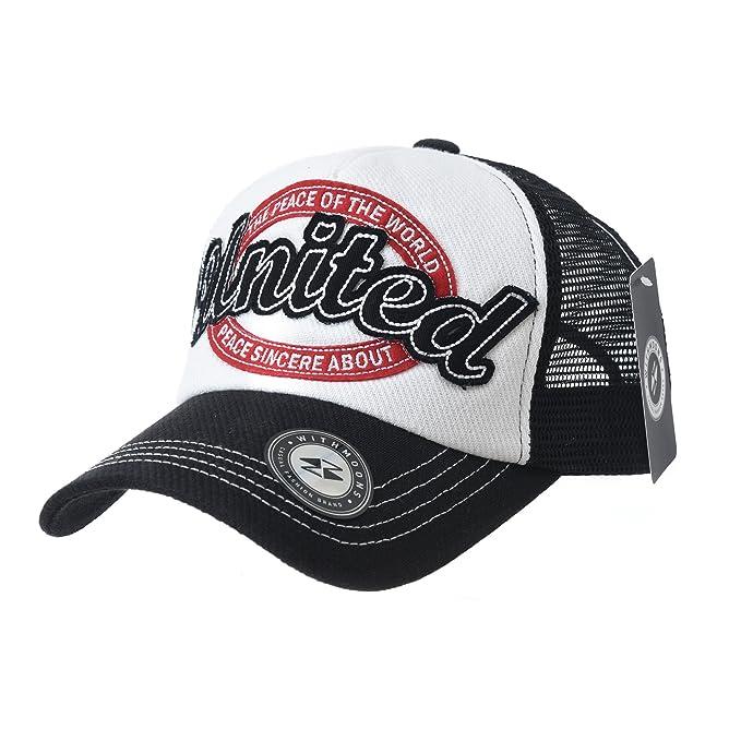 WITHMOONS Gorras de Béisbol Gorra de Trucker Sombrero de Baseball Cap Vintage Meshed Distressed Trucker Hat KR1961 J6FjQgif0